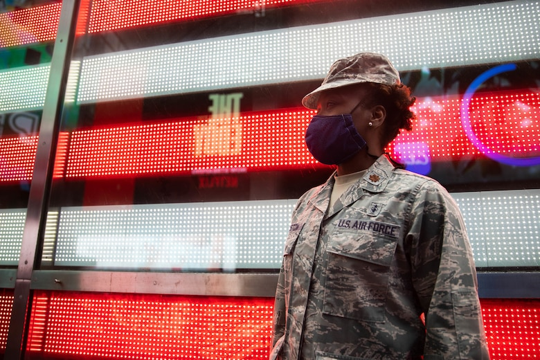 Maj. Tynikka Houston, an operating room nurse and individual mobilization augmentee, was one of 13 IMAs who deployed to New York City in support of the Air Force Reserve's COVID-19 response efforts earlier this year. (Army Spc. Genesis Miranda)