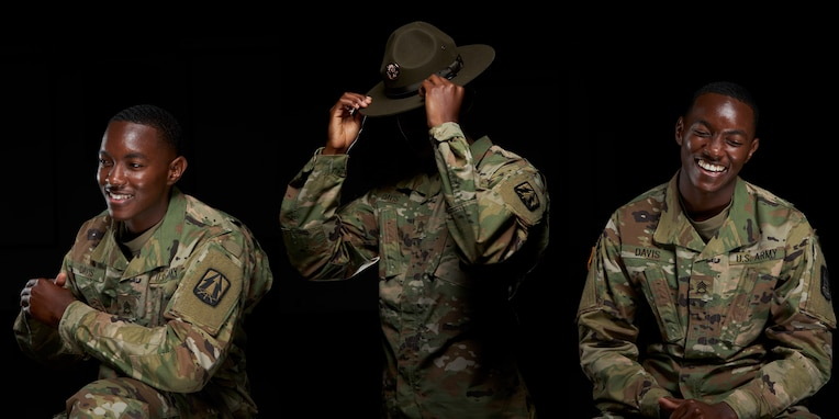 U.S. Army Staff Sgt. Delar Davis III, an information technology specialist with the 335th Signal Command (Theater), poses for a portrait at East Point, Georgia, May 28, 2020.