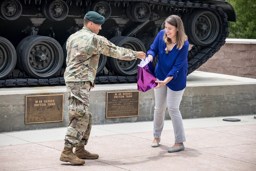 USARCENT leadership presented Katrin Galeano with the Meritorious Public Service Medal, the third highest honors the Department of the Army can award to a private citizen. The award celebrates Galeano's exceptional public service in support of her military spouse, families, civilians, the local Sumter community and the military community across the globe.
