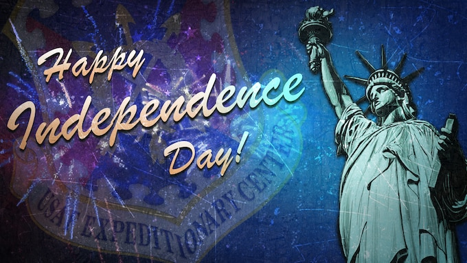 Independence Day graphic with fireworks and the Statue of Liberty.