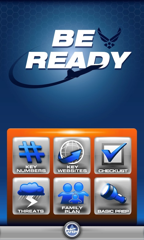 """The """"Air Force Be Ready"""" app features a main menu that includes: emergency phone numbers, websites, a storm preparation checklist, potential storm threats, a customizable family plan and basic preparation suggestions."""