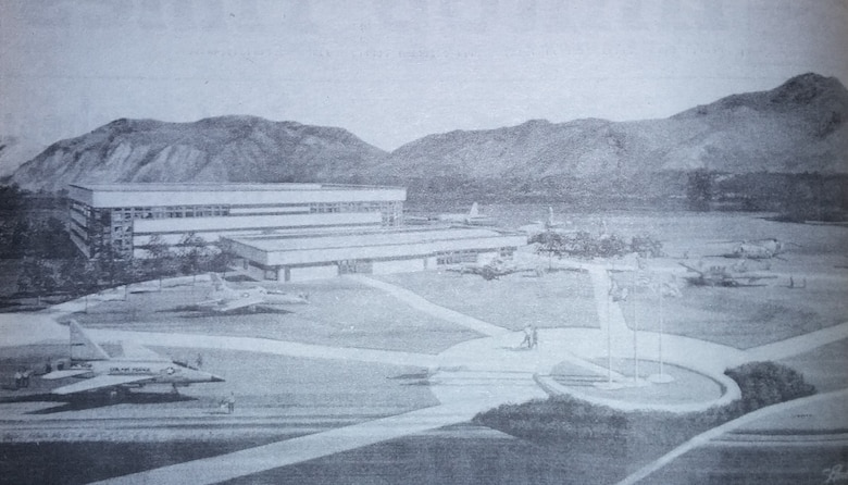 This illustration is an artist's conception of what the Hill Aerospace Museum would look like after construction, as shown in the Hilltop Times issue published on March 23, 1990.
