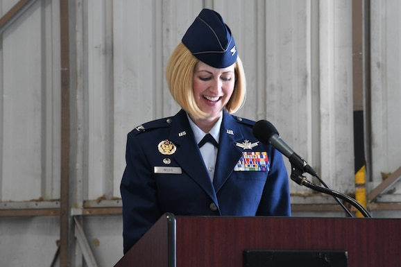 Col. Sheila Wilds accepts command of the 926th Operations Group during a Change of Command ceremony, June 26, 2020 at Nellis Air Force Base, Nevada. During the ceremony Col. Todd Tobergte relinquished command to Wilds. Wilds comes to the 926th OG from the 379th Space Range Squadron, where she served as commander. The COC ceremony was modified to honor the heritage of the passing of the wing guidon while maintaining current social distancing guidelines.