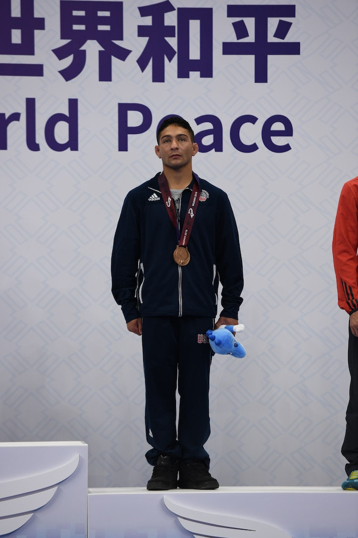Army Staff Sgt. Max Nowry of Fort Carson, Colo. captures the bronze medal in men's freestyle wrestling on October 21, 2019, during the 7th Consil International du Sport Militaire (CISM) Military World Games in Wuhan, China.