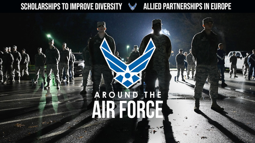 Today's look Around the Air Force highlights comments from Gen. Jeffery Harrigian, commander of the U. S. Air Forces Europe, in an interview with the Mitchell Institute's Aerospace Nation webcast. Harrigian talks about continued efforts to build trust with allies, improving partnerships and increasing interoperability, and minority ROTC cadets receive full scholarships as part of the Air Force's efforts to increase diversity in leadership across the force. (U.S. Air Force graphic by Travis Burcham)
