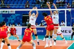 Kylie Churches (15) and Abbey Hall (9) block a shot during the U.S. Armed Forces Women's Volleyball Team match against China in the first preliminary round of the CISM 2019 Military World Games in Wuhan, China Oct. 16, 2019.  (DoD photo by Mass Communication Specialist 1st Class Ian Carver/RELEASED)