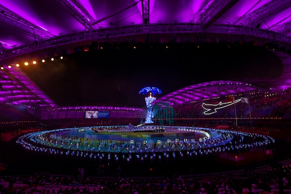 Entertainers performer during opening ceremonies for the 2019 CISM Military World Games in Wuhan, China Oct. 18, 2019. Teams from more than 100 countries will compete in dozens of sporting events through Oct. 28. (DoD photo by EJ Hersom)