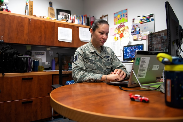 U.S. Air Force Tech. Sgt. Kristen Dube, Robert D. Gaylor Non-Commissioned Officer Academy (NCOA) senior instructor, evaluates Tech. Sgt. Kristen Peck, student instructor, during a virtual class June 23, 2020, at Joint Base San Antonio-Lackland, Texas.