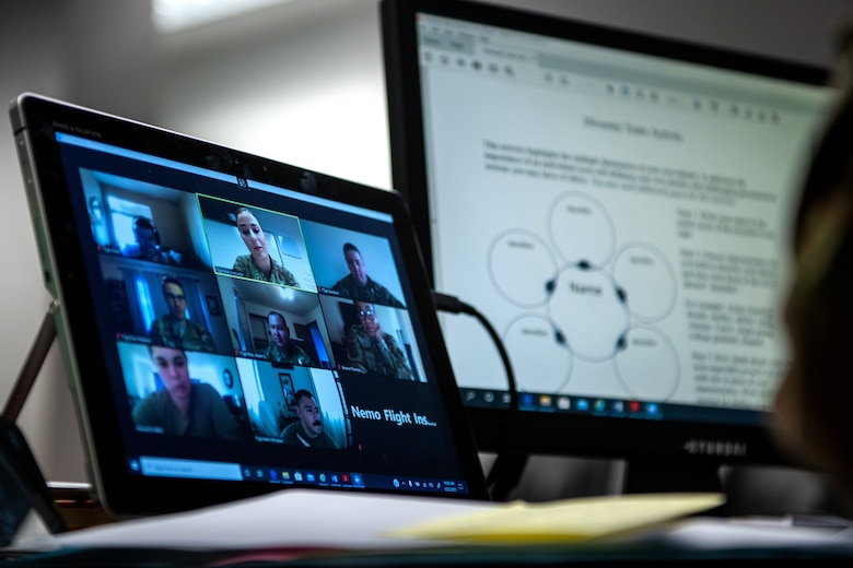 U.S. Air Force Tech. Sgt. Kristen Peck (top center), Robert D. Gaylor Non-Commissioned Officer Academy (NCOA) student instructor, engages with her students during a virtual class June 23, 2020, at Joint Base San Antonio-Lackland, Texas.