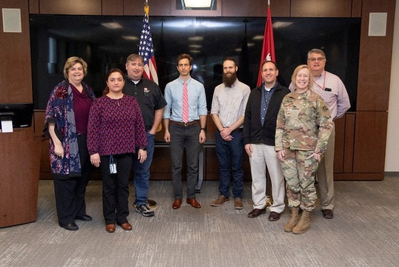 U. S. Army Engineer Research and Development Center (ERDC) Commander Col. Teresa Schlosser, front right, welcomed the five selectees for the 2020 six-month session of ERDC University, sponsored by the Office of Research and Technology Transfer and the Human Capital Office.  Participating in kickoff activities March 3-6 were, from left, ERDC U Program Manager and ORTT Technology, Knowledge and Outreach Division Chief Tisa Webb; Civil Engineer Ceyda Polatel, Jacksonville District, assigned to the Coastal and Hydraulics Laboratory; Natural Resource Specialist Jason Knight, Tulsa District, assigned to the Environmental Laboratory; Cost Civil Engineer Ian Pumo, Seattle District, assigned to EL and the Cold Regions Research and Engineering Laboratory;  Biologist Aaron McFarlane, St. Paul District,  assigned to EL; Geologist David Robison, Louisville District, assigned to Geotechnical and Structures Laboratory; and Human Capital Office Director Dr. Gary Anderton. U.S Army Corps of Engineers division and district participants partner with ERDC subject matter experts to apply and implement technical solutions.
