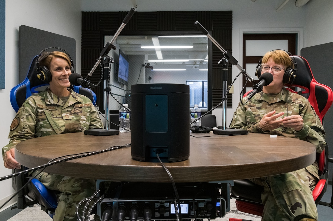 From the left, Chief Master Sgt. Dawn Kolczynski, U.S. Air Force surgeon general chief of medical operations, and Lt. Gen. Dorothy Hogg, U.S. Air Force surgeon general, were guests for a podcast from Dover's Bedrock Innovation Lab, June 26, 2020, at Dover Air Force Base, Delaware. Hogg and Kolczynski talked to podcast listeners about COVID-19, innovation and leadership from their perspectives. (U.S. Air Force photo by Roland Balik)