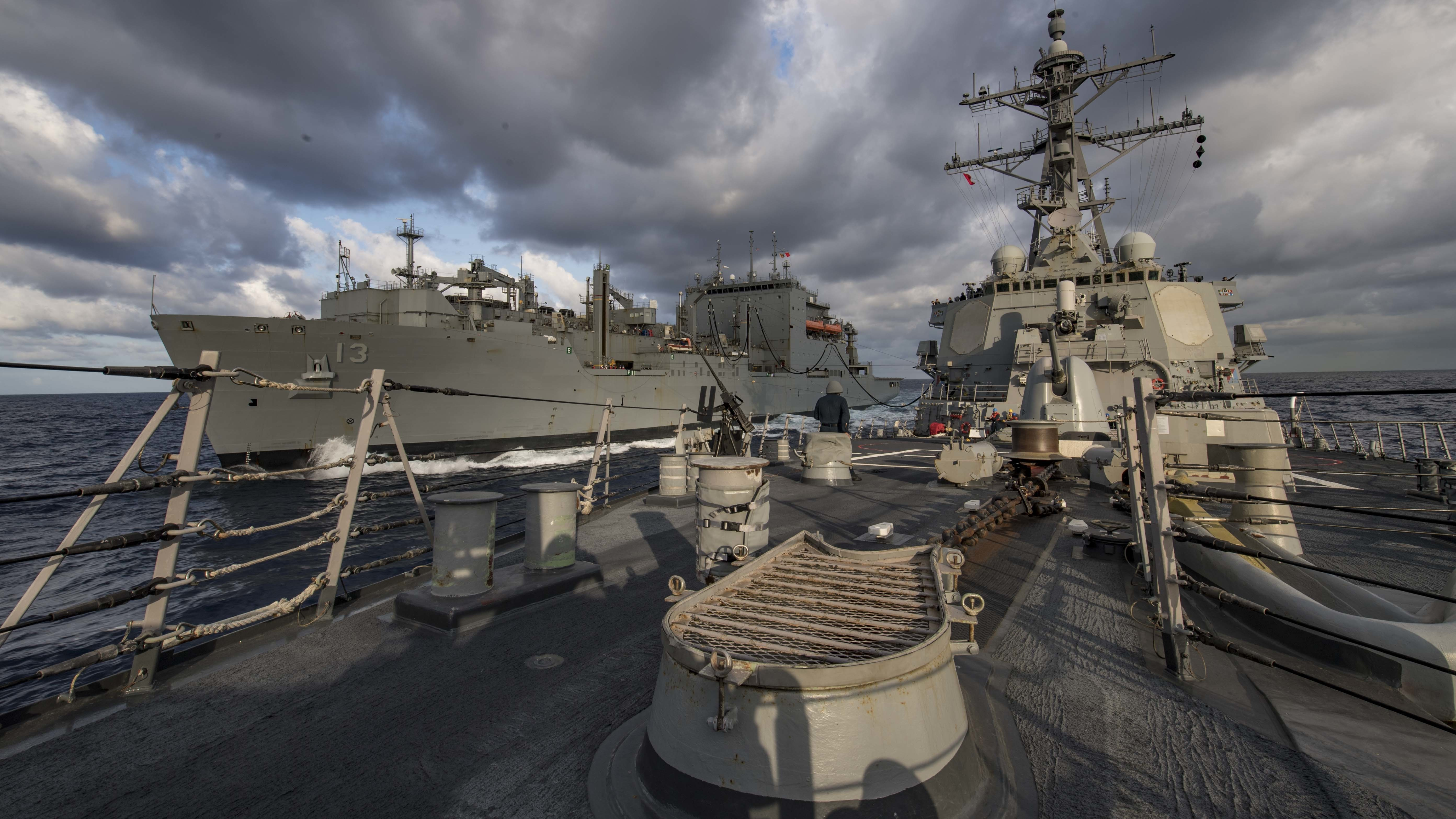 USS Carney (DDG 64) undergoes a replenishment-at-sea with the Lewis and Clark-class dry cargo ship USNS Medgar Evers (T-AKE-13), July 16, 2019.