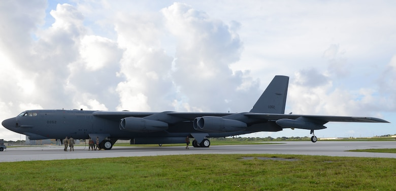 A U.S. Air Force B-52H Stratofortress bomber, deployed from Barksdale Air Force Base, La. lands at Andersen Air Base, Guam, July 4, 2020. The B-52 flew the 28-hour mission to demonstrate U.S. Indo-Pacific Command's commitment to the security and stability of the Indo-Pacific region. (U.S. Air Force photo by Staff Sgt. Nicholas Crisp)