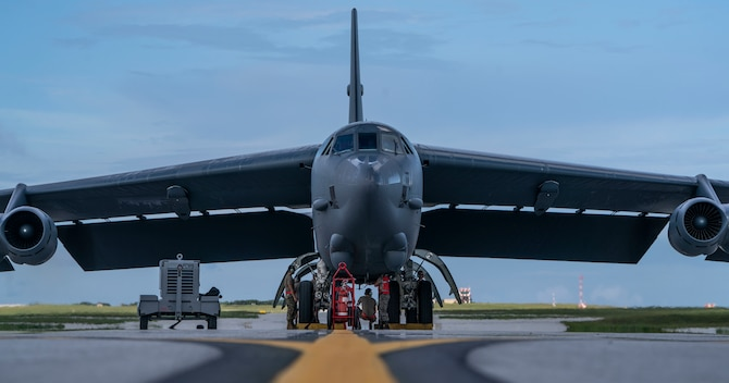 A U.S. Air Force B-52H Stratofortress bomber, deployed from Barksdale Air Force Base, La., lands at Andersen Air Force Base, Guam, July 4, 2020. The B-52 flew the 28-hour mission to demonstrate U.S. Indo-Pacific Command's commitment to the security and stability of the Indo-Pacific region. (U.S. Air Force photo by Master Sgt. Richard P. Ebensberger)