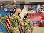 For his service and conduct while stationed with Defense Logistics Agency Distribution in New Cumberland, Pennsylvania, Navy Lt. Cmdr. Crette Hendricks was awarded the Defense Meritorious Service Medal June 12.