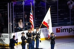 U.S. Army Spc. Raivyn Hearne of the California Army National Guard's 40th Infantry Division Band sings the national anthem during the Anaheim Ducks Military Appreciation Night, Nov. 10, 2019, at the Honda Center in Anaheim, California.