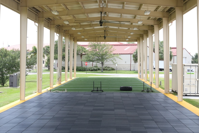 An outdoor fitness facility.