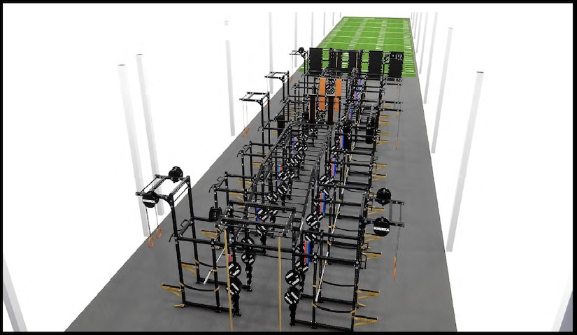 A rendered image of an outdoor human performance facility.