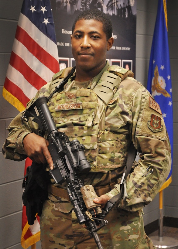 Staff Sgt. Daryn Weatherspoon, 445th Security Forces Squadron unit training instructor, is the 445th Airlift Wing July Spotlight Performer.
