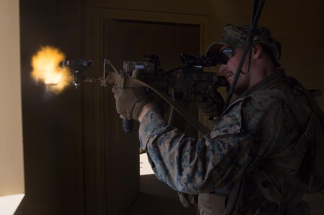 U.S. Marines provide security during Marine Air Ground Task Force Warfighting Exercise 5-20 at Marine Air Ground Combat Center Twentynine Palms, Calif., June 25.