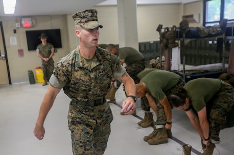 Sgt. Jordan Doxtader, a student at Drill Instructor School, practices squad bay procedures on Marine Corps Recruit Depot Parris Island, S.C., May 7, 2019. Drill Instructor School is a 12 week long training course that focuses on leadership traits and principals. (U.S. Marine Corps photo by Lance Cpl. Dylan Walters)