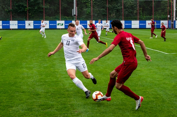 The U.S. Armed Forces Men's Soccer Team plays Qatar in their first preliminary round of the CISM 2019 Military World Games in Wuhan, China Oct. 16, 2019. The Council of International Sports for the Military games open Oct. 18, 2019 and close Oct. 28, 2019. (DoD photo by Mass Communication Specialist 1st Class Ian Carver/RELEASED)