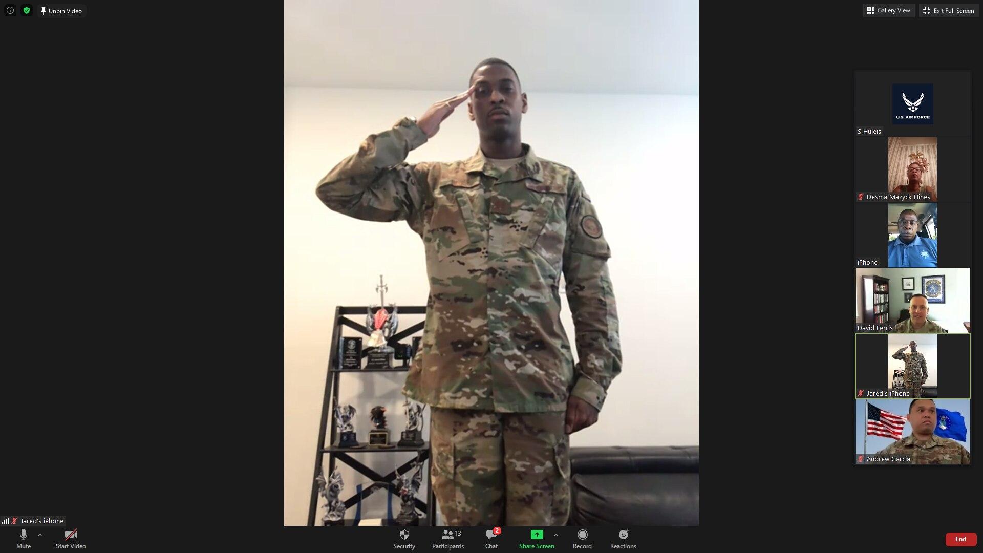 A man salutes