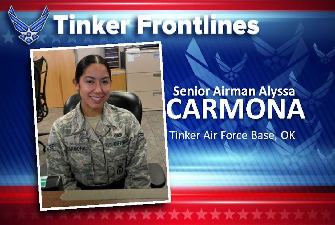 Senior Airman Alyssa Carmona, with the 72nd Security Forces Squadron, is a Visitor Control Center badging clerk.