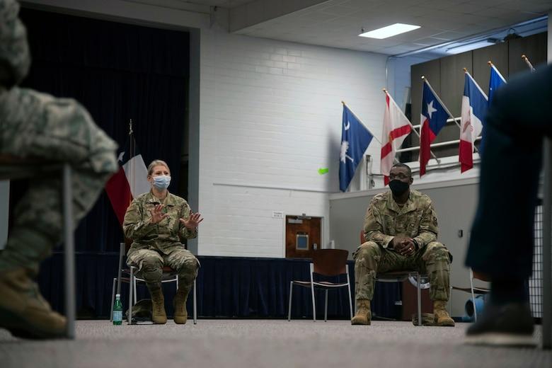 Brig. Gen Caroline Miller, 502nd Air Base Wing and Joint Base San Antonio commander, leads a diversity forum
