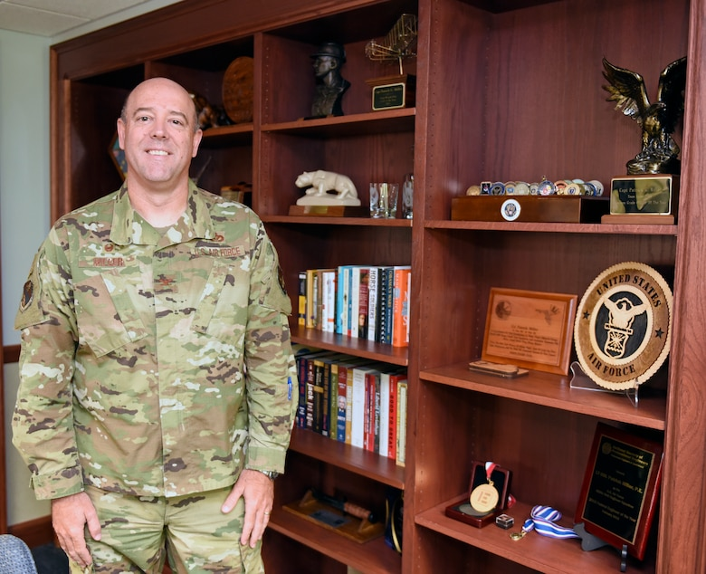 Col. Patrick G. Miller, 88th Air Base Wing and installation commander, talks about his new role as commander at Wright-Patterson Air Force Base, Ohio during an interview on June 19, 2020. (U.S. Air Force photo by Ty Greenlees)