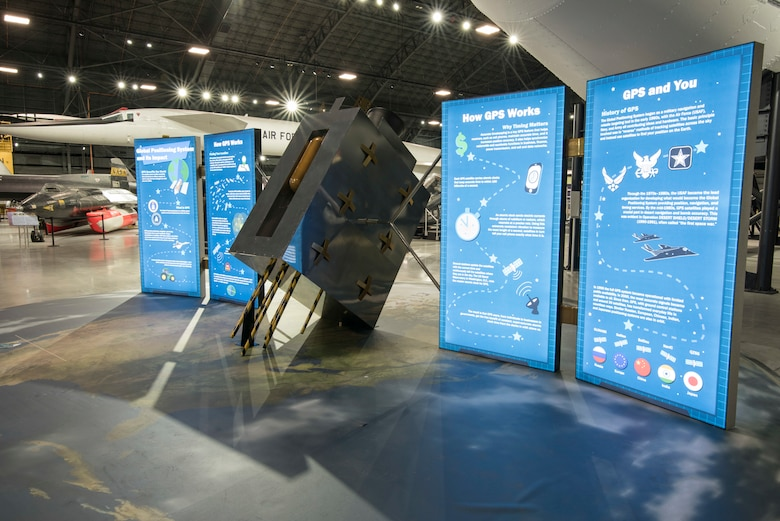 Picture of the GPS Exhibit that is displayed in the shape of a satellite.