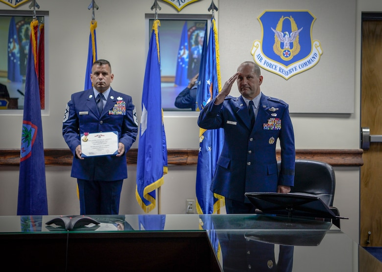 U.S. Air Force Brig. Gen. Gentry W. Boswell is awarded the Legion of Merit during a change of command ceremony July 8, 2020, at Andersen Air Force Base, Guam.