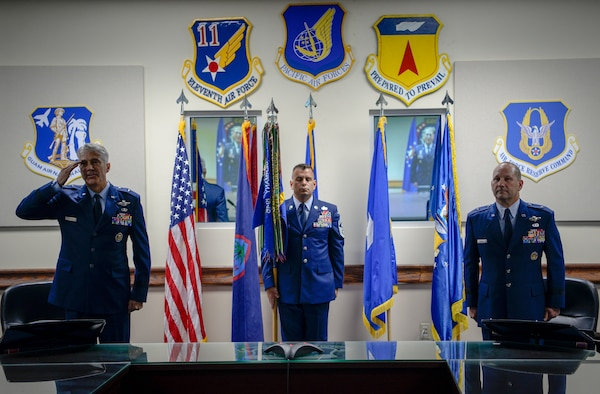 U.S. Air Force Brig. Gen. Jeremy T. Sloane takes command of the 36th Wing from outgoing commander, Brig. Gen. Gentry W. Boswell, during a change of command ceremony July 8, 2020, at Andersen Air Force Base, Guam.