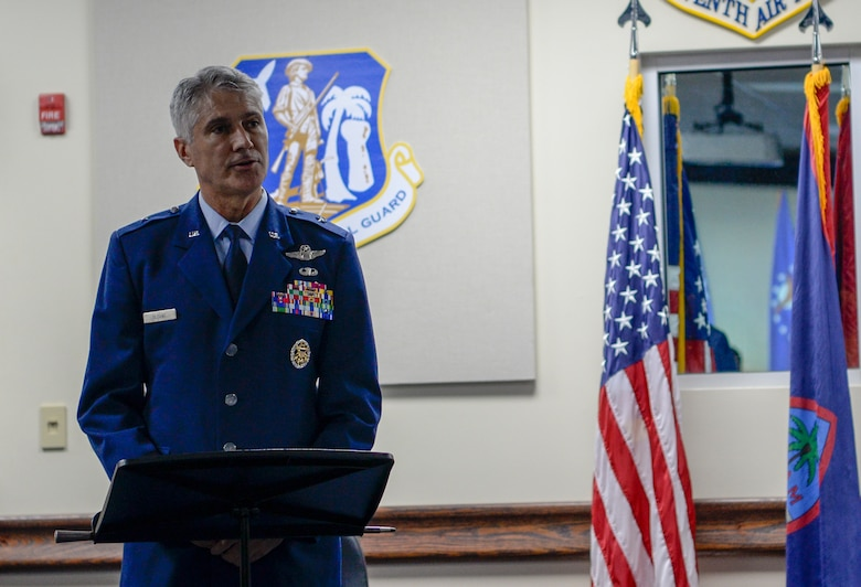 U.S. Air Force Brig. Gen. Jeremy T. Sloane offers remarks during a change of command ceremony July 8, 2020, at Andersen Air Force Base, Guam.