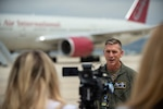 Colonel Shannon Smith, commander of the 124th Fighter Wing, speaks to the local media during a press conference regarding the deployment of Idaho Air National Guard Airmen to various locations throughout Southwest Asia, May 11, 2020,