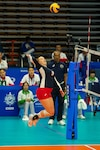 U.S. Air Force Capt. Abby Hall, U.S Armed Forces Women's Volleyball Team member, goes for a spike during the 7th Conseil International du Sport Militaire World Games in Wuhan, China Oct. 22, 2019. The U.S. team defeated Canada in five sets. (U.S. DoD photo by Staff Sgt. Vito T. Bryant)