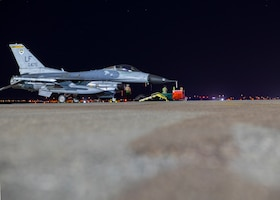 An F-16C Fighting Falcon, assigned to the 310th Fighter Squadron, parks after a flight June 23, 2020, at Luke Air Force Base, Ariz.