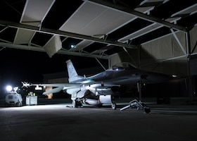 An F-16C Fighting Falcon assigned to the 310th Fighter Squadron is ready for maintenance June 24, 2020, at Luke Air Force Base, Ariz.