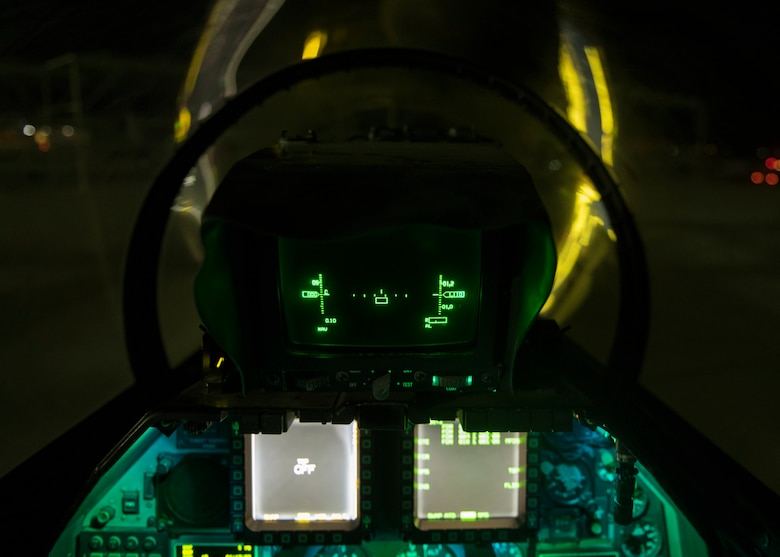 Nighttime display panels illuminate the backseat control panel of an F-16D Fighting Falcon assigned to the 310th Fighter Squadron, June 24, 2020, at Luke Air Force Base, Ariz.