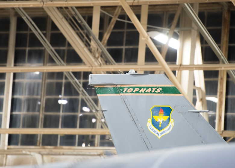 "An F-16 Fighting Falcon assigned to the 310th Fighter Squadron ""Tophats"" sits in a hangar June 24, 2020, at Luke Air Force Base, Ariz."