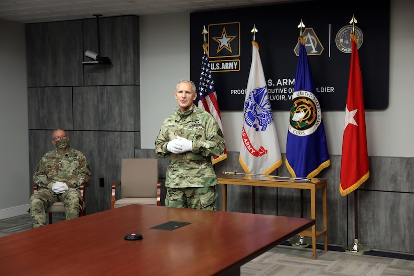 Brig. Gen. Anthony Potts, Program Executive Officer (PEO) Soldier, welcomed Sgt. Maj. Vern Daley as PEO Soldier's Sergeant Major during the Assumption of Responsibility ceremony at Fort Belvoir, Va on 19 June 2020.