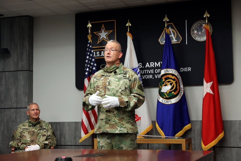 Sgt. Maj. Vern Daley says a few remarks about becoming the new Senior Enlisted Advisor during the Program Executive Office (PEO) Soldier's Assumption of Responsibility ceremony at Fort Belvoir, Va on 19 June 2020.