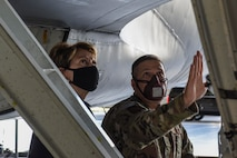 U.S. Air Force Senior Master Sgt. Raymond Allen, an Airman assigned to the 168th Aircraft Maintenance Squadron, shows Secretary of the Air Force Barbara M. Barrett part of a KC-135 Stratotanker at Eielson Air Force Base, Alaska, July 7, 2020. Part of the tour focused on the 168th Wing's mission to provide air refueling, missile warning, and space surveillance for the state and nation. (U.S. Air Force photo by Airman 1st Class Aaron Larue Guerrisky)