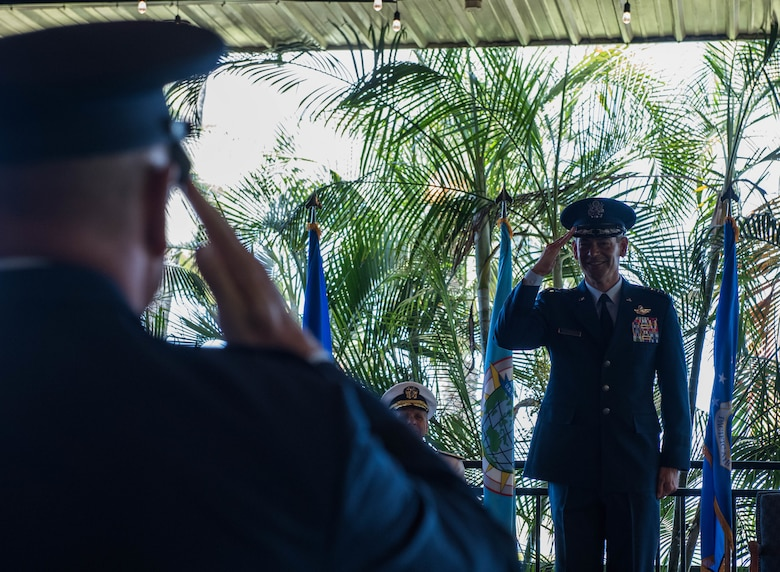 Gen. Kenneth S. Wilsbach receives his first salute as Pacific Air Forces' newest commander during a Change of Command Ceremony on Joint Base Pearl Harbor-Hickam, Hawaii, July 8, 2020. Prior to taking the command at PACAF, Wilsbach served as the Commander, 7th Air Force and Deputy Commander, U.S. Forces Korea. Other assignments included, Commander, Alaskan Region, North American Aerospace Defense Command, Commander, Alaskan Command, U.S. Northern Command and Commander, 11th Air Force. (U.S. Air Force photo by Staff Sgt. Hailey Haux)