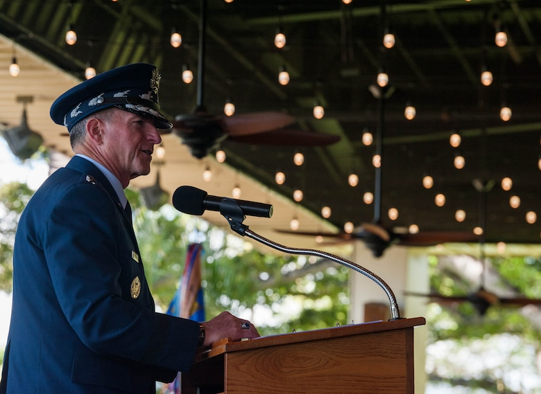 Gen. David L. Goldfein, Chief of Staff of the Air Force, gives his remarks during a Change of Command Ceremony on Joint Base Pearl Harbor-Hickam, Hawaii, July 8, 2020. During the ceremony, Gen. Kenneth S. Wilsbach assumed command of Pacific Air Forces from Gen. CQ Brown, Jr. (U.S. Air Force photo by Staff Sgt. Hailey Haux)