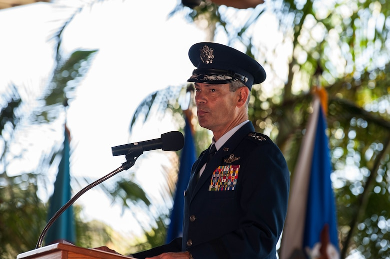 Gen. Kenneth S. Wilsbach, Pacific Air Forces commander, gives remarks during a Change of Command Ceremony on Joint Base Pearl Harbor-Hickam, Hawaii, July 8, 2020. Wilsbach assumed command of PACAF from Gen. CQ Brown, Jr. during the ceremony. Prior to taking the command at PACAF, Wilsbach served as the Commander, 7th Air Force and Deputy Commander, U.S. Forces Korea. Other assignments included, Alaskan Region, North American Aerospace Defense Command, Commander, Alaskan Command, U.S. Northern Command and Commander, 11th Air Force. (U.S. Air Force photo by Staff Sgt. Hailey Haux)