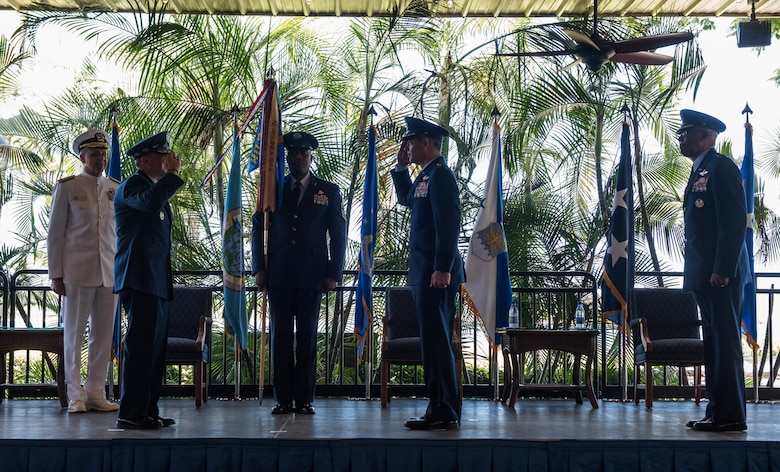 Gen. Kenneth S. Wilsbach salutes Gen. David L. Goldfein, Chief of Staff of the Air Force, as he assumes command of Pacific Air Forces from Gen. CQ Brown, Jr. during a Change of Command Ceremony on Joint Base Pearl Harbor-Hickam, Hawaii, July 8, 2020. As the 36th COMPACAF, Wilsbach now oversees approximately 46,000 Airmen, serving principally in Japan, Korea, Hawaii, Alaska and Guam. (U.S. Air Force photo by Staff Sgt. Hailey Haux)