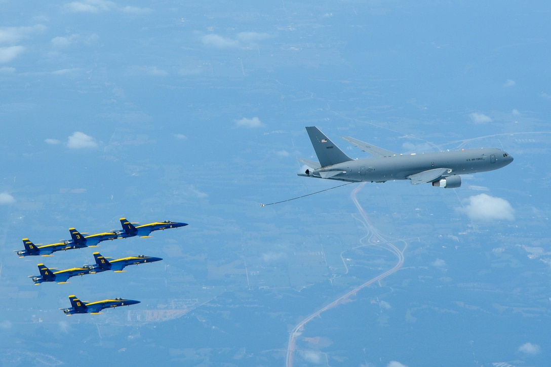 On July 1st 2020 the 931 ARW refueled the Navy's Blue Angels for the first time with the KC-46.