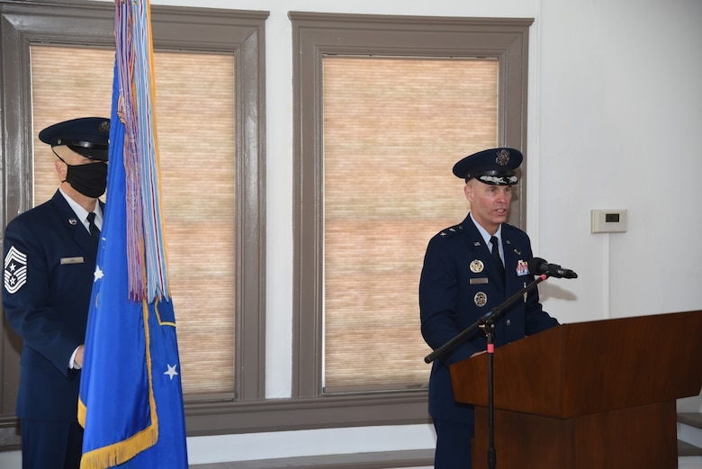 """Maj. Gen. Michael Lutton gives remarks during the 20th Air Force change of command ceremony, 8 July, 2020, F. E. Warren Air Force Base, Wyo. During the ceremony, Maj. Gen. Michael J. Lutton took command of 20th Air Force from Maj. Gen. Ferdinand """"Fred"""" B. Stoss. (U. S. Air Force photo by Glenn S. Robertson)"""