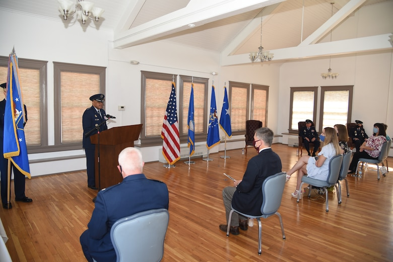 """Lt. Gen. Anthony Cotton, deputy commander of Air Force Global Strike Command, gives remarks during the 20th Air Force change of command ceremony, 8 July, 2020, F. E. Warren Air Force Base, Wyo. During the ceremony, Maj. Gen. Michael J. Lutton took command of 20th Air Force from Maj. Gen. Ferdinand """"Fred"""" B. Stoss. (U. S. Air Force photo by Glenn S. Robertson)"""